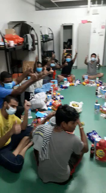 SRK FANs from Singapore distributing food items and essential goods to migrant workers! 🙏❤️ #SupportSelfmadeSRK