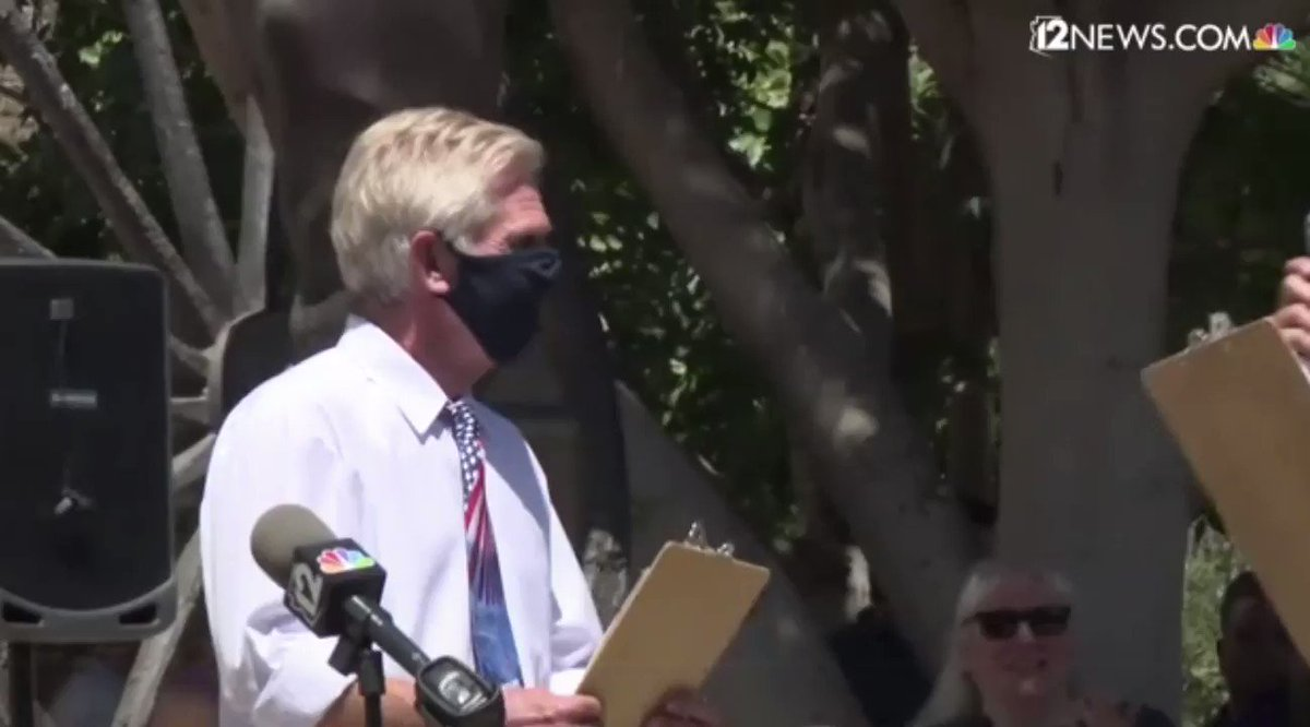 """Here's video of Scottsdale City Councilman Guy Phillips shouting """"I Can't Breathe"""" before removing his mask at today's Anti-Mask Rally in Arizona:  Mocking Eric Garner & George Floyd and many others in this moment is something I feel compelled to expose..."""