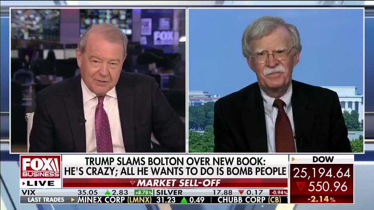 "Former White House Adviser John Bolton says his controversial book has nothing to do with liberal causes or getting Joe #Biden elected. He wants to describe his time at the White House to readers and let them ""make up their own minds."" #Bolton #Trump #VarneyCo"