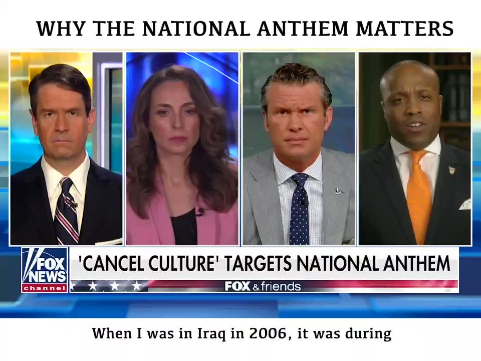ICYMI: Yesterday I joined Fox and Friends to share my views on the National Anthem. Let's use this song to unite as Americans, not sow division.