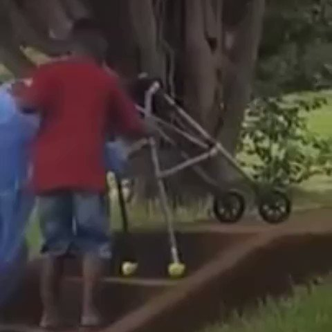 This 8-year-old boy asked his mom to stop the car so he could help this elderly woman negotiate the steps to her home.   It ain't hard to be kind.   Humanity.🌎❤️