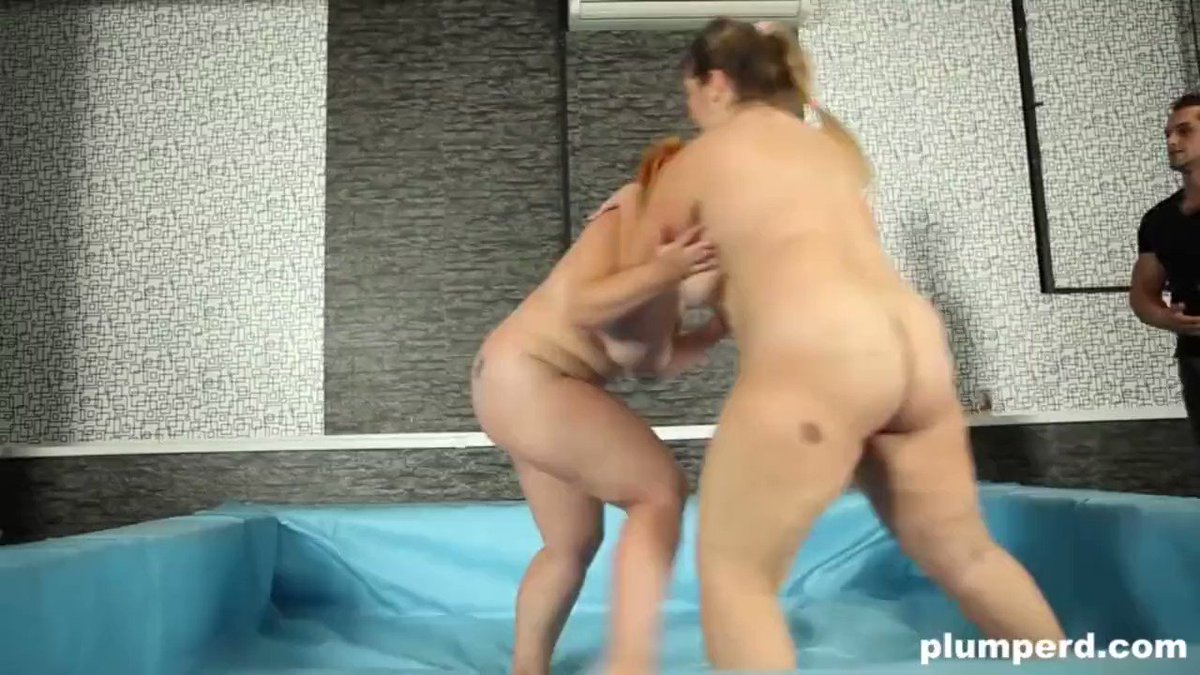 Euro BBW Wrestlers Fighting for Referee's Cock. Watch it now at   #plumperd