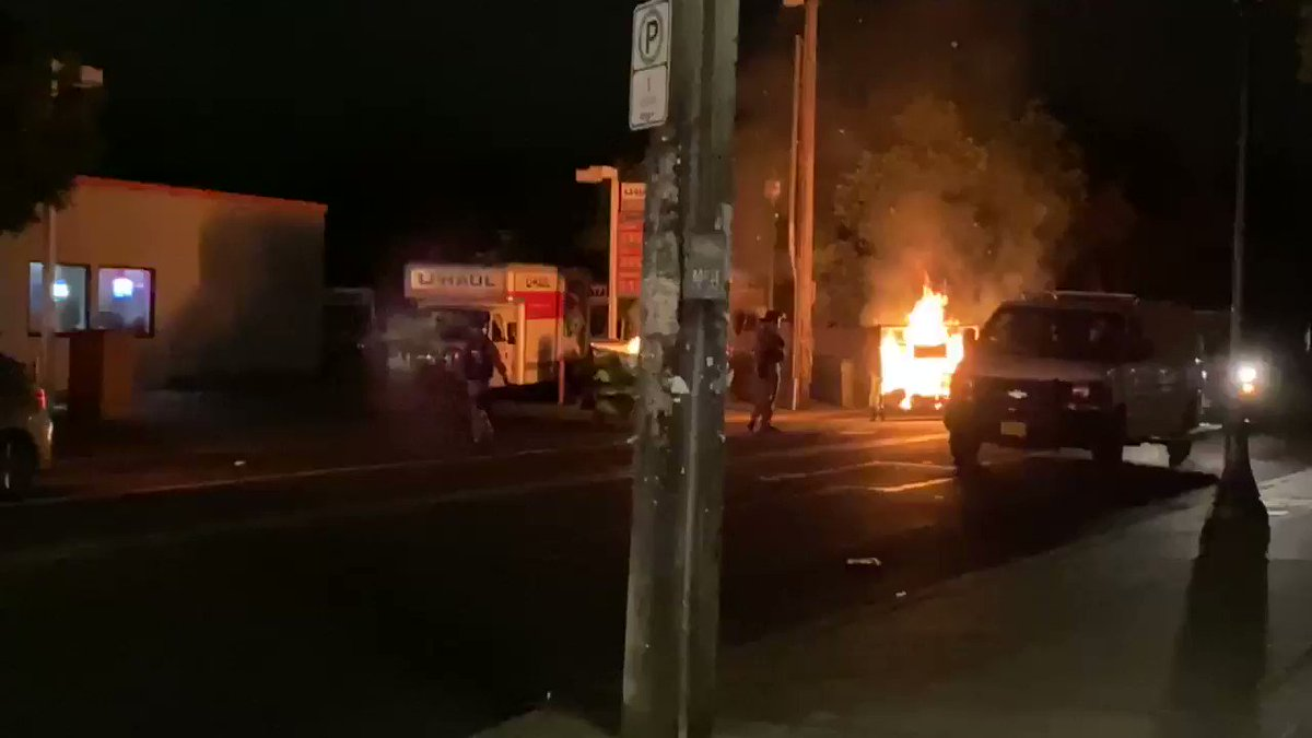 Antifa black bloc rioters started fires in the street again close to the @PortlandPolice North Precinct, the same place they attacked last week.
