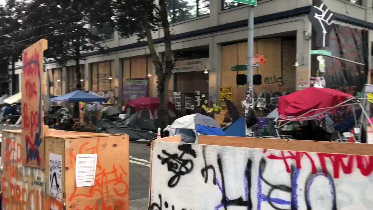 #UPDATE: First look at the #CHOP zone since Seattle Police cleared it out this morning.   Dozens of tents and lots belongings left, but all protestors have been cleared out.   @KIRO7Seattle