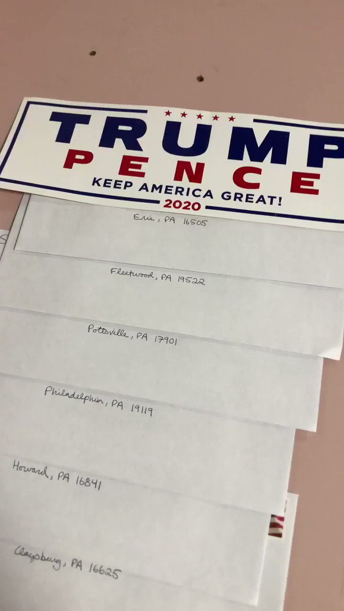 Here are 33 handwritten letters on the way to Pennsylvania.   Work, hustle, grind, sleep, repeat. #PAwinsWhiteHouse