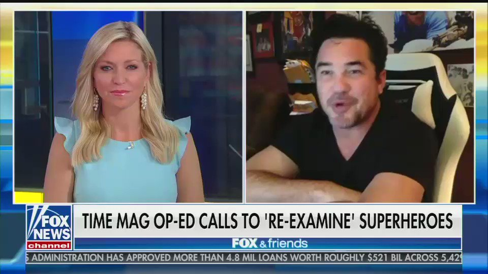 "Dean Cain: ""I promise you, as Superman, I wouldn't today be allowed to say 'truth, justice, and the American way.'""  Ainsley Earhardt: ""Oh my gosh. You're right. You're absolutely right."""