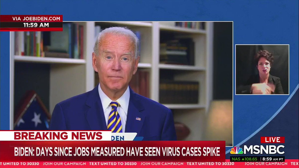 """.@JoeBiden has a direct message for Trump today: quit hoping for the best, quit claiming victory with 15 million unemployed, and quit ignoring the reality of this pandemic.   """"Act. Lead. Or get out of the way so others can, Mr. President."""""""