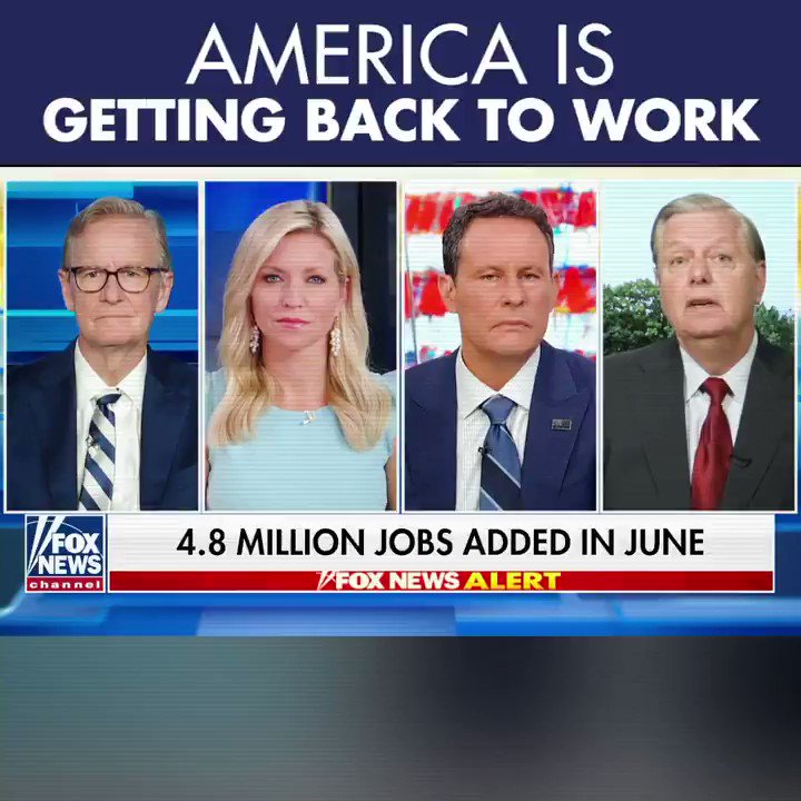Did you see the news? The economy added a record 4.8 MILLION jobs in June! America is coming back, people are ready to get to work, and confidence in reopening the country is growing stronger each and every day.