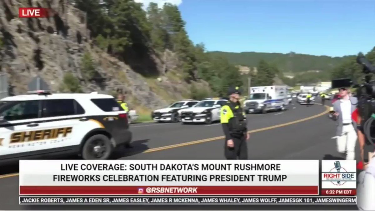 BREAKING: Protesters have slashed the tires on vans and are blocking the road leading to Mt. Rushmore where President Trump is scheduled to speak tonight in honor of the 4th of July