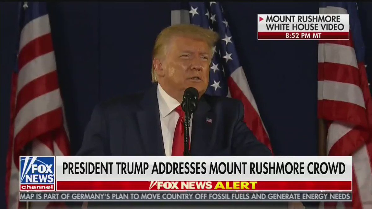 "POTUS:  ""This monument will never be desecrated. These heroes will never be defaced. Their legacy will never ever be destroyed. Their achievements will never be forgotten. And Mount Rushmore will stand forever as an eternal tribute..."""