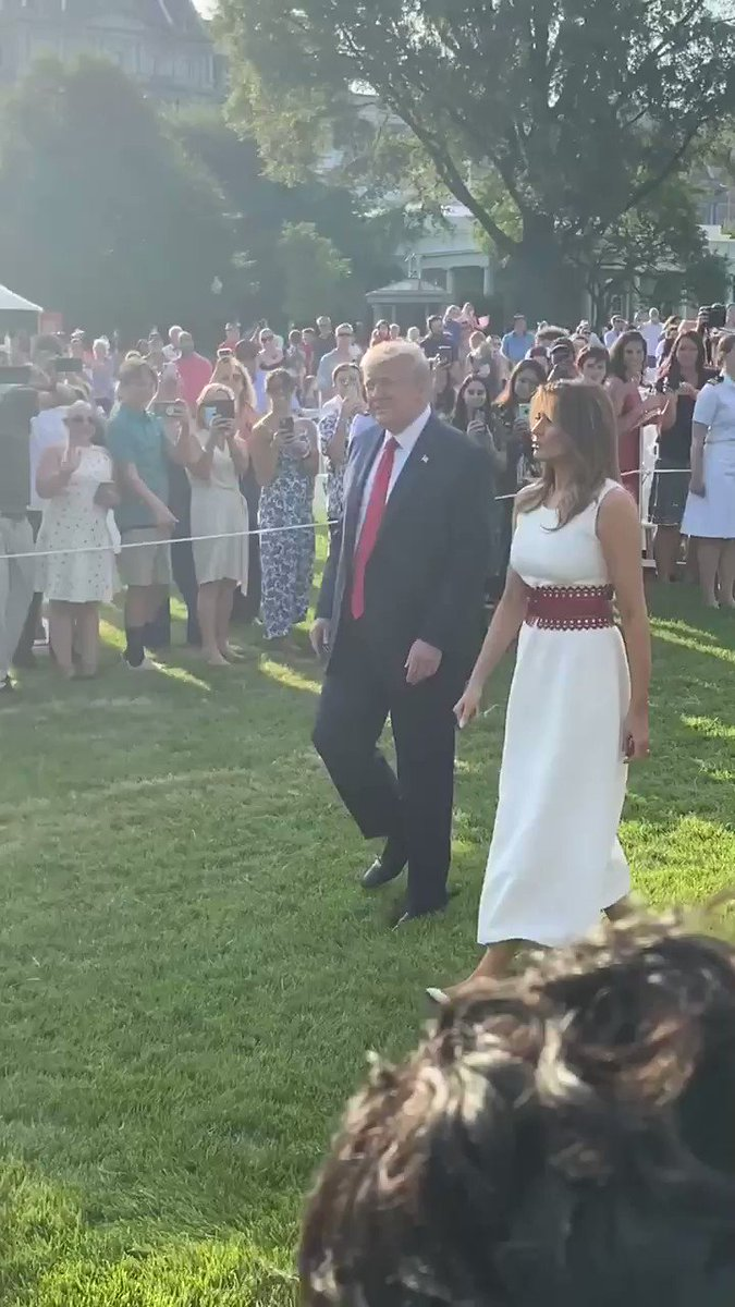 The President and First Lady make their way from the White House, down the South Lawn to the podium. @OANN #FourthofJuly