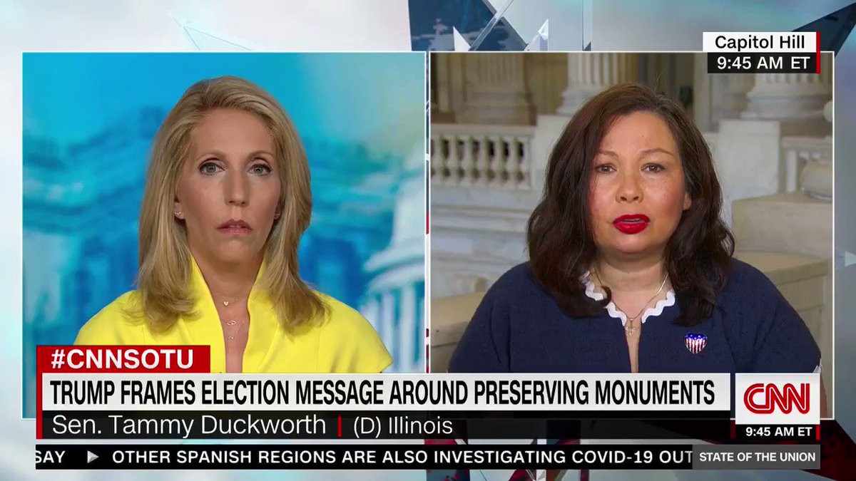 Democrat Senator Tammy Duckworth says she's open to tearing down statues of George Washington.