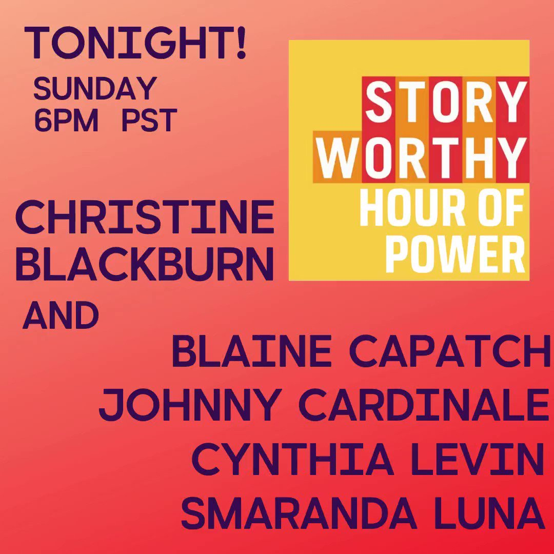 TONIGHT! Join us from ANYWHERE! 6:00pst  LIVE storytelling by some of the BEST talents in the industry like @blainecapatch @sheseemsnice @smaranda_luna  @JohnnyCardinale Yes, there is a FREE option guys! Tickets here-  #storytelling #comedy #truestories