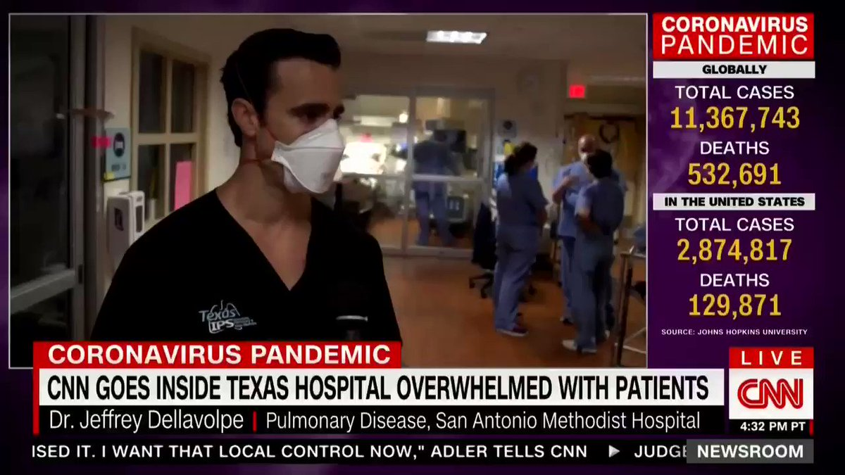 Texas Doctor: I got 10 calls yesterday for young people who will die if they don't get ICU support, but I only have three beds left.