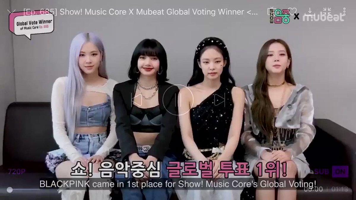 สาวๆ #BLACKPINK มาขอบคุณที่ชนะในการโหวต Mubeat ครับ  #JISOO: BP ได้ที่ 1 ในการโหวตจากทั่วโลกของรายการ Music Core. และที่พิเศษไปกว่านั้นคือ เราได้คะแนนโหวต 9,120,000 คะแนนซึ่งเป็นสถิติที่มากที่สุด เรามาบอกความในใจที่พวกเราได้ที่ 1 และมาขอบคุณบลิ้งค์ทั่วโลกที่โหวตให้เรา (ต่อ) #HYLT