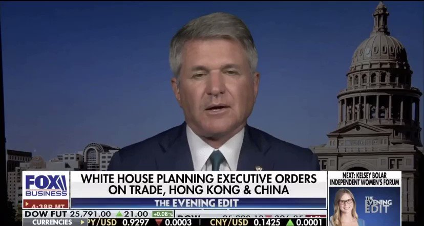 """LR @RepMcCaul on @EveningEdit with @LizMacDonaldFOX: """" I believe we need a leader at the @WHO who cares more about global health than appeasing the #ChineseCommunistParty."""""""