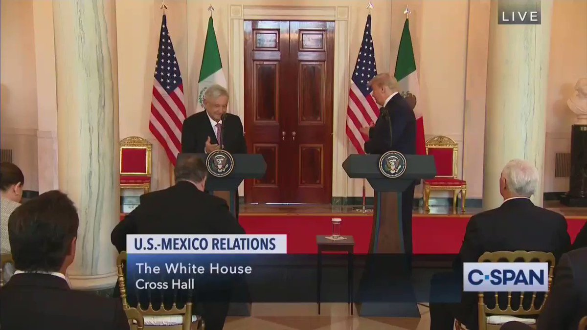 """""""Mr. President, Dr. Birx says we don't know how Covid impacts children. How can you say it's safe to send them back to school?"""" -- Trump ignored questions from reporters at the end of his press event with the president of Mexico"""