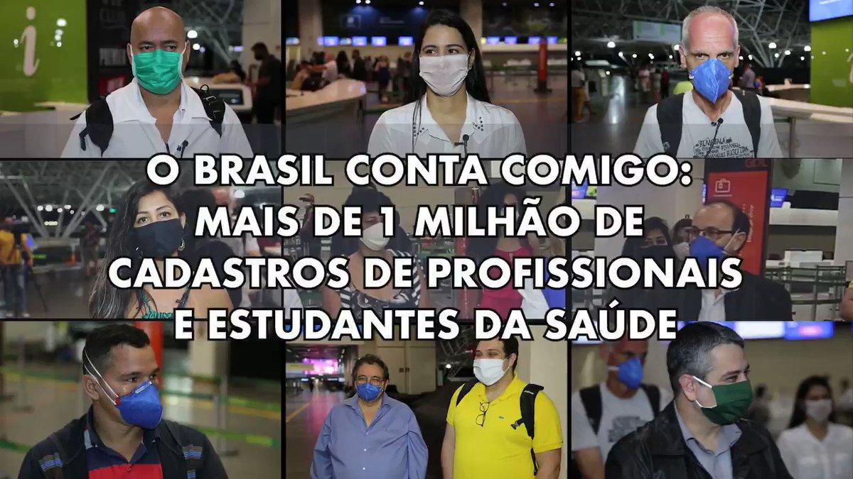 """Mais de 1 milhão de profissionais e estudantes da saúde estão dispostos a ajudar no combate ao #coronavírus no país. Eles se cadastraram na estratégia """"O Brasil Conta Comigo"""". Se você é da área da Saúde, cadastre-se também. Acesse:"""