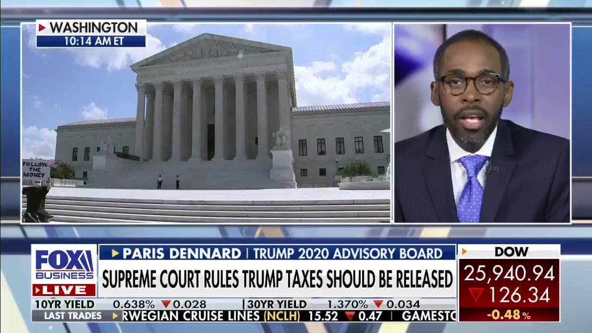 The Supreme Court #SCOTUS has just ruled that state prosecutors can acquire a sitting president's tax records. @PARISDENNARD says President Trump's old tax forms have nothing to do with the 2020 election. #Election #GOP #Taxes #Economy #VarneyCo