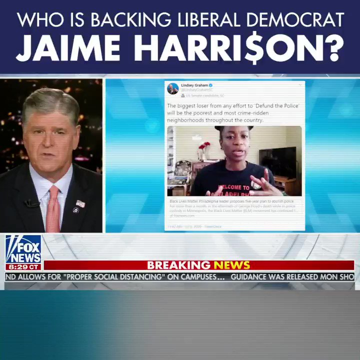 Who is backing liberal Democrat Jaime Harrison?  - Nancy Pelosi - Chuck Schumer - Hillary Clinton - Rosie O'Donnell - Barbara Streisand  I must be doing something right if those people want to beat me!