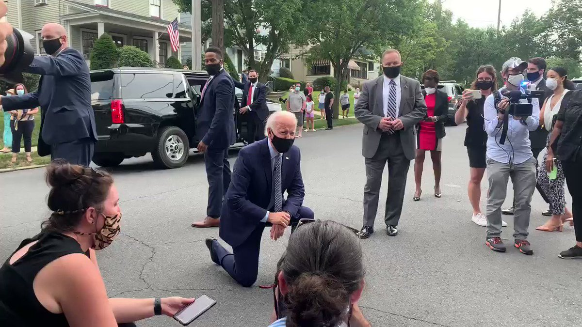 Biden keeps taking knees.  This is not the behavior of a man who wants to be the leader of the free world