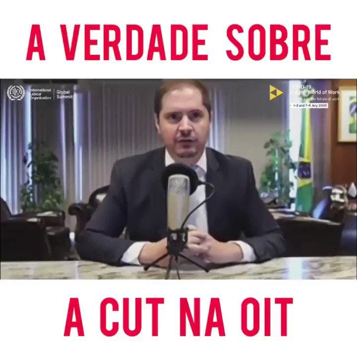 Trecho do direito de resposta concedido na OIT. As palavras da CUT foram desconectadas da realidade, demonstram o inconformismo com o rumo que a população brasileira escolheu nas urnas em 2018. O Brasil está preservando empregos e cuidando de seus trabalhadores, essa é a verdade!