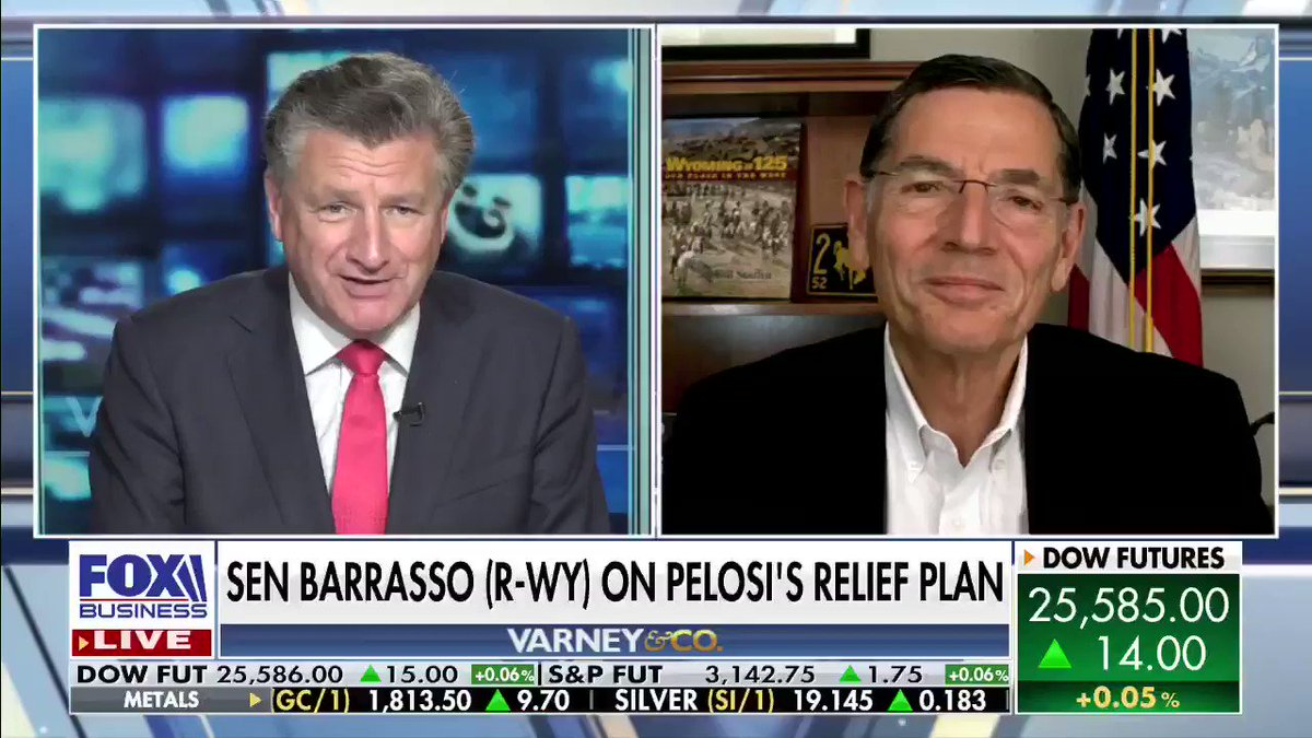 House Speaker Nancy #Pelosi (D-CA) is calling for trillions in new relief spending that she claims will go to blue-collar workers. @SenJohnBarrasso says Pelosi's plan also calls for bailouts to sanctuary cities and failed pension programs. #Economy #Coronavirus #VarneyCo