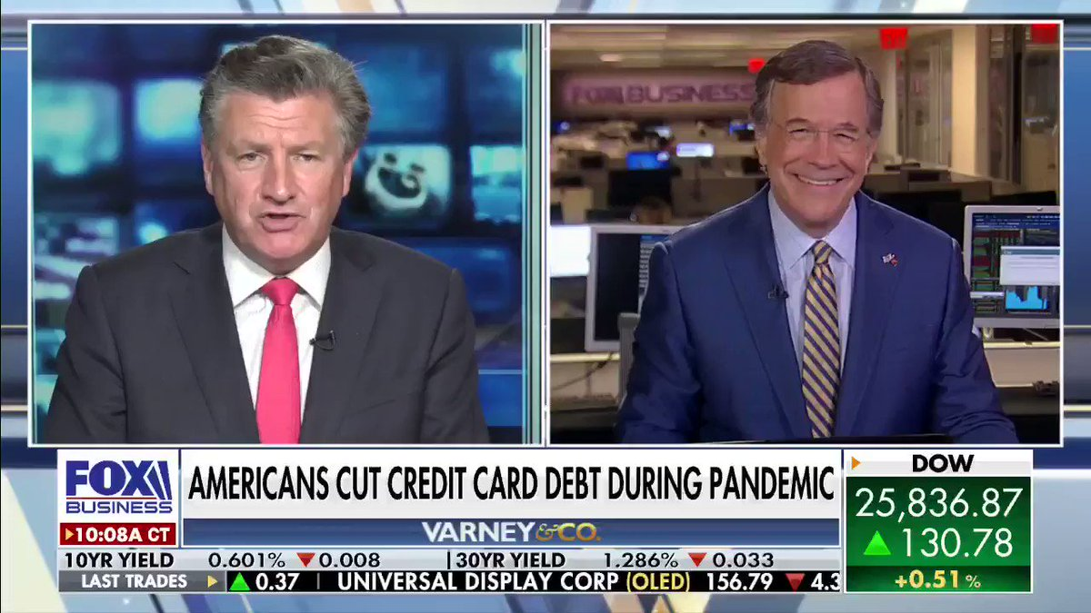 Although the #pandemic has led to millions of job cuts, Americans are still shrinking their credit card debt. @DavidAsmanfox says that's because people are spending less overall. #Finance #Economy #Credit #VarneyCo