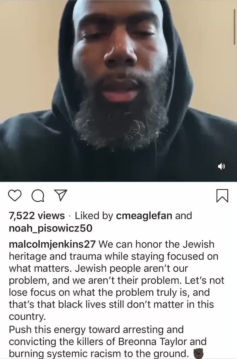"""Malcolm Jenkins, who made a tearful video criticizing Drew Brees when he said that kneeling for the anthem is disrespectful, calls the outrage over DeSean Jackson invoking Hitler and Louis Farrakhan a """"distraction"""""""