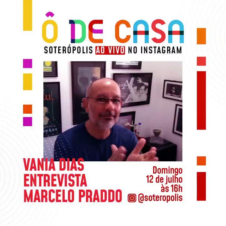 Neste domingo (12), às 16h, tem mais uma edição do #ÔDeCasa do @soteropolis! 😄 O ator e diretor de teatro Marcelo Praddo conversa com a jornalista e apresentadora Vania Dias.⠀  Confere o convite e não perca a live  🎭     #TVEBahia