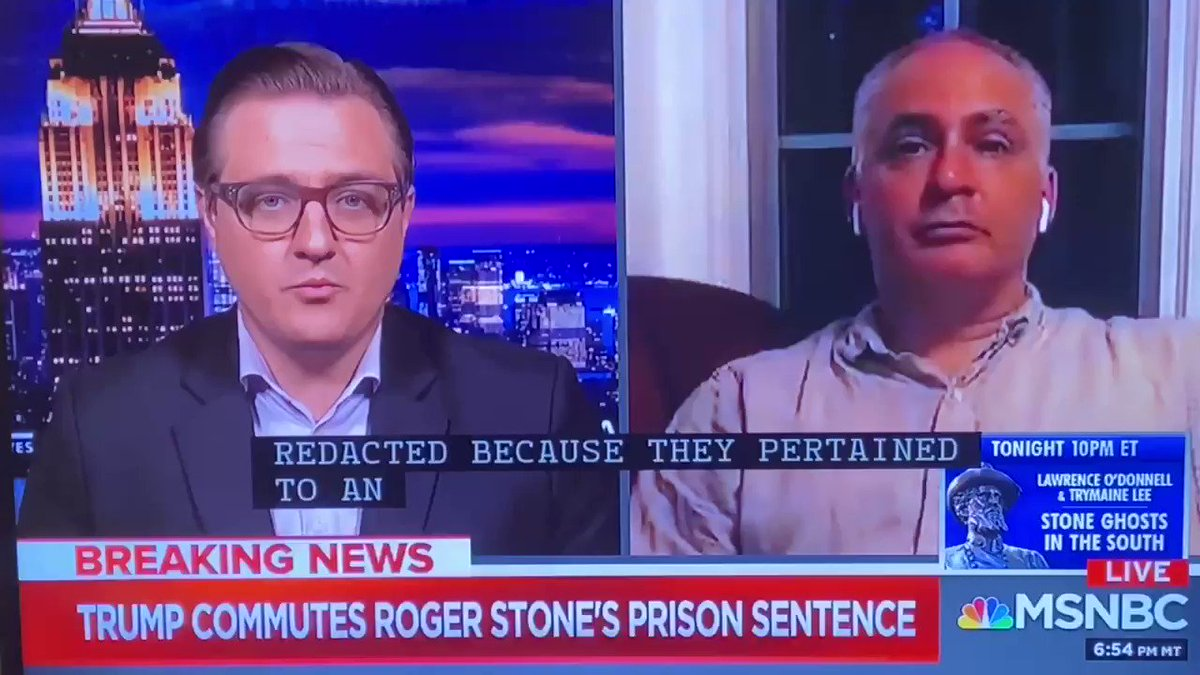 """It's July 2020, and @chrislhayes is still peddling the conspiracy theory that Roger Stone """"was a go-between between the Trump campaign and Wikileaks."""" Does it matter that Mueller, Stone's trial, & every person involved refuted this fantasy?"""