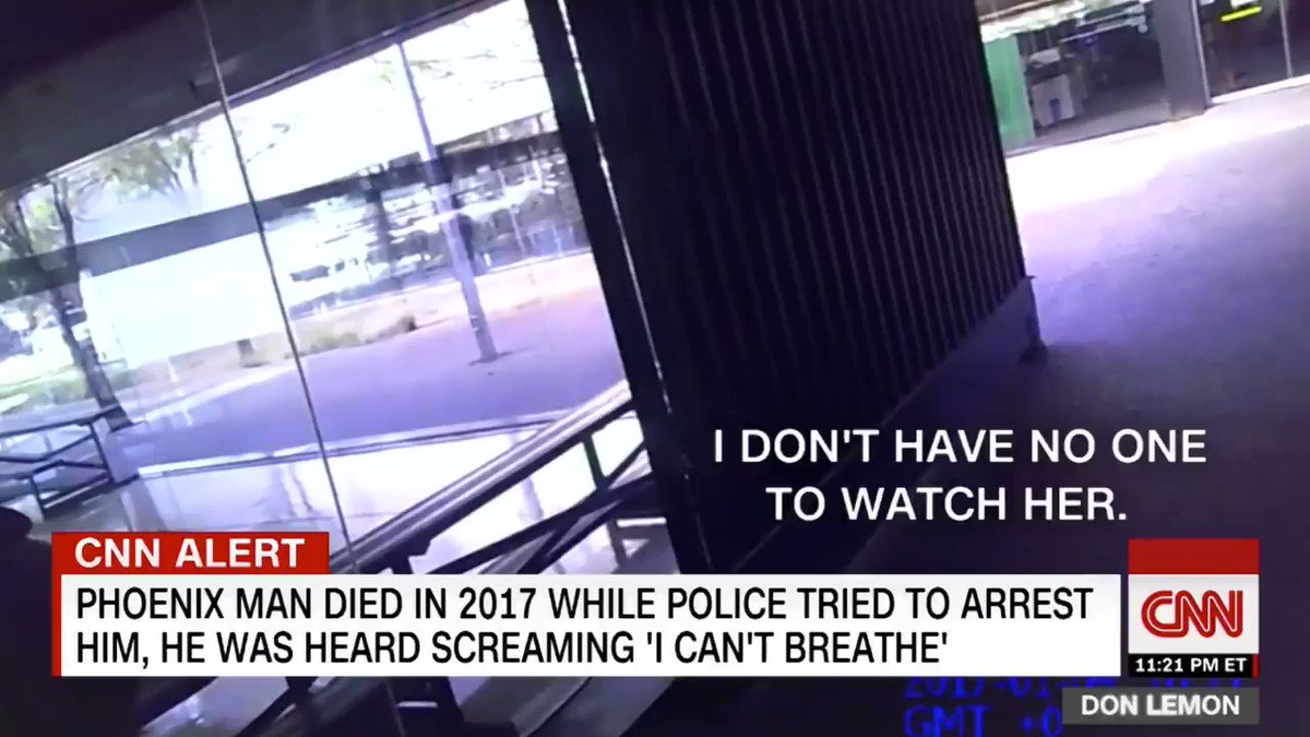 """New footage shows how eerily similar #MuhammadMuhaymin's death was to #GeorgeFloyd's. He said """"I CAN'T BREATHE"""" as officers had their knees on his neck/back — all bc he had to use a restroom. Phoenix PD LIED saying he died from underlying conditions/drugs. He deserves JUSTICE!!"""
