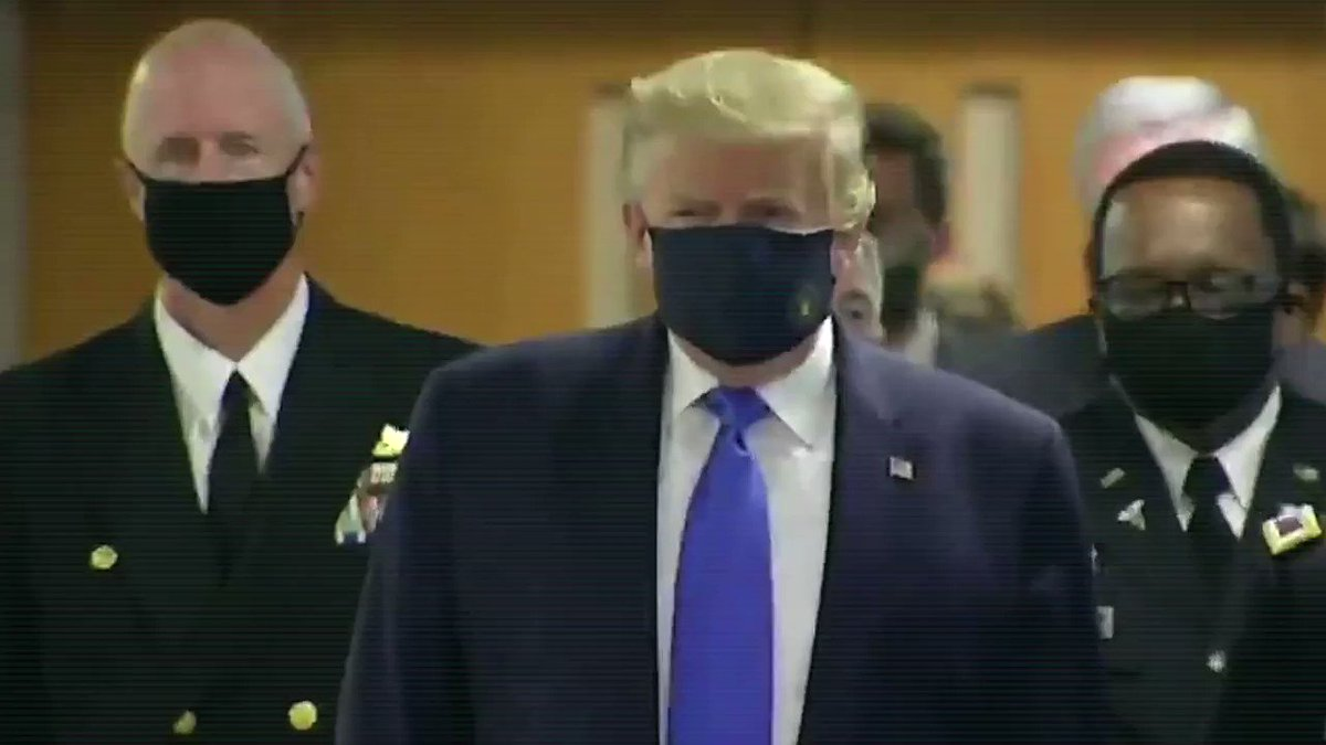 Trump finally wore a mask.  How many tens of thousands of American lives were lost because he wouldn't do this back in February?  There should have been a national mask order.  A short video. Turn sound UP.  #TrumpMask