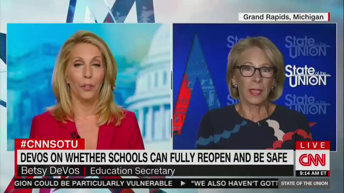 DANA BASH: What the Fairfax County superintendent is saying is they would need a building the size of 5 Pentagons in order to accommodate their students and meet the CDC guidelines. So should they follow them?  BETSY DeVOS: The CDC guidelines are meant to be flexible.