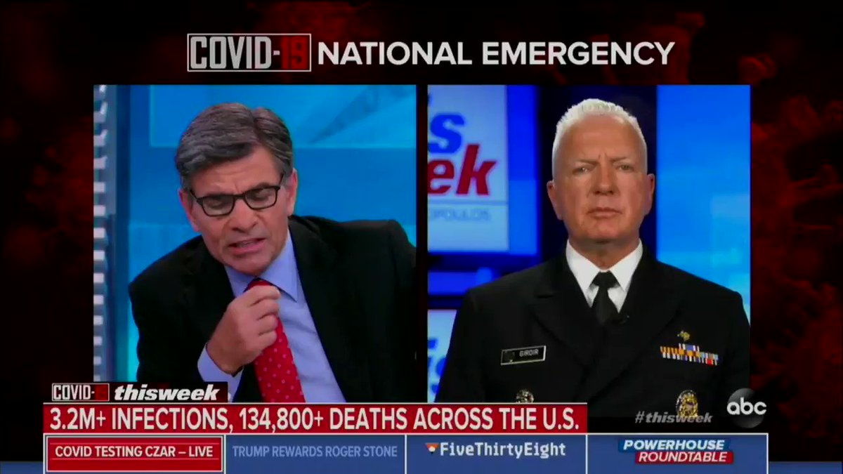 """Real talk from WH coronavirus testing czar Brett Giroir: """"We do expect hospitalizations to continue to go up ... we do expect deaths to go up."""""""