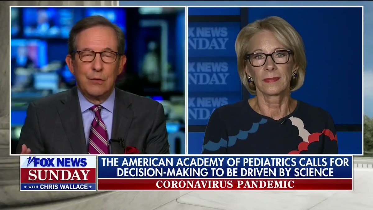 WALLACE: Germany had 378 new cases Fri. The US had 68,226. Is it fair to compare?  DeVOS: Well, we're talking about reopening schools  W: But schools happen in an environment  D: We're not talking about places where it's out of control [it's out of control in much of the country]