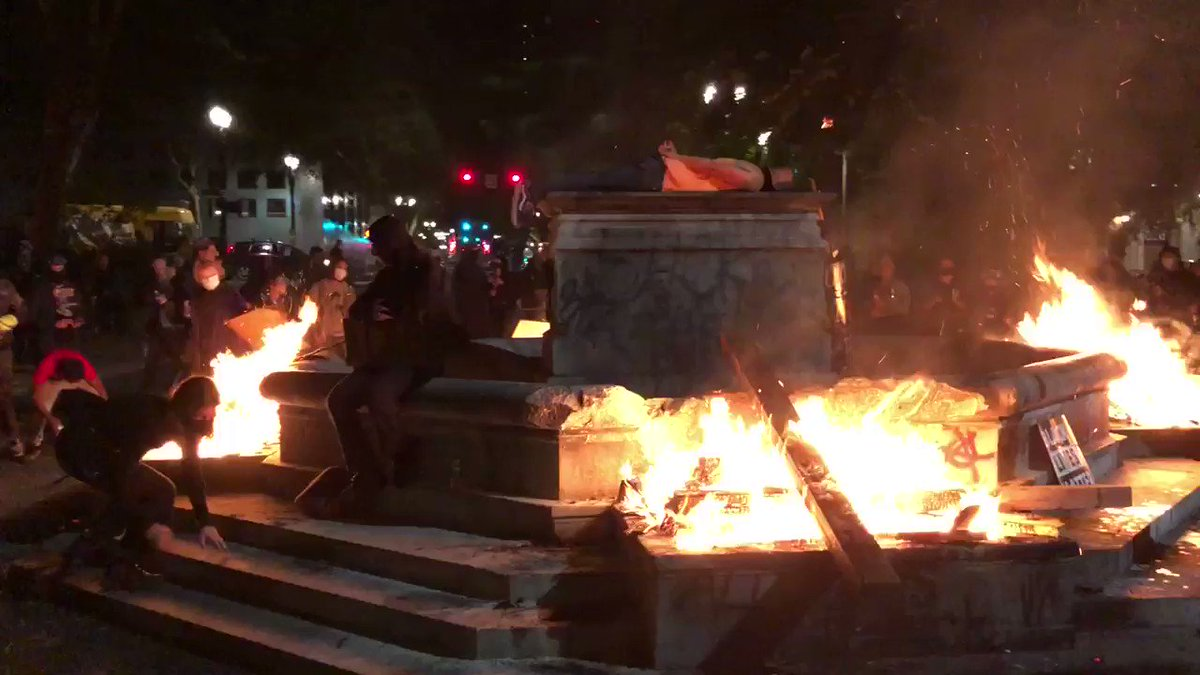 Antifa is protesting for black lives by setting fire to the elk statue again.