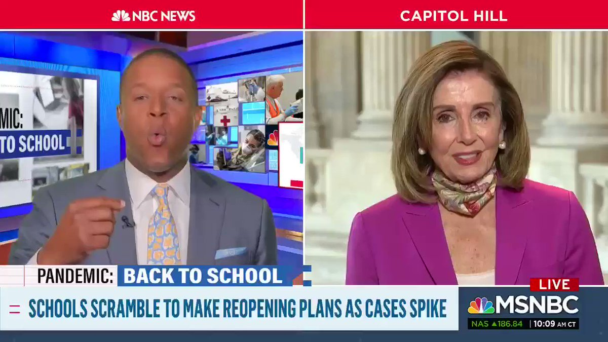 On #MSNBC @SpeakerPelosi Tells @craigmelvin some of her concerns about opening schools this year.