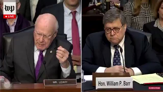 """Trump rewarding Roger Stone for his silence by commuting his sentence makes me think about this:  Sen. Leahy: """"Do you believe a president could lawfully issue a pardon in exchange for the recipient's promise to not incriminate him?""""  Bill Barr: """"No. That would be a crime."""""""