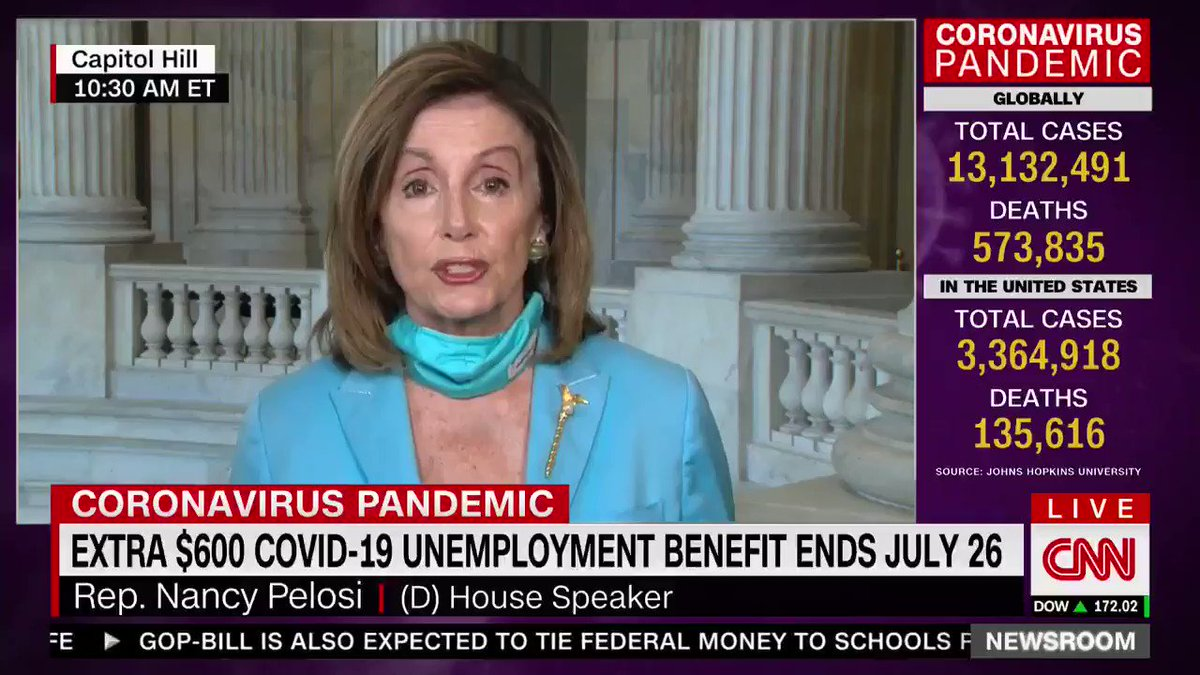 The Heroes Act's national #coronavirus testing plan has been passed in the House for two months as of tomorrow, as @SpeakerPelosi points out.  But it will do much more, like extending unemployment benefits and helping families.  Why hasn't Moscow Mitch brought it up for a vote?