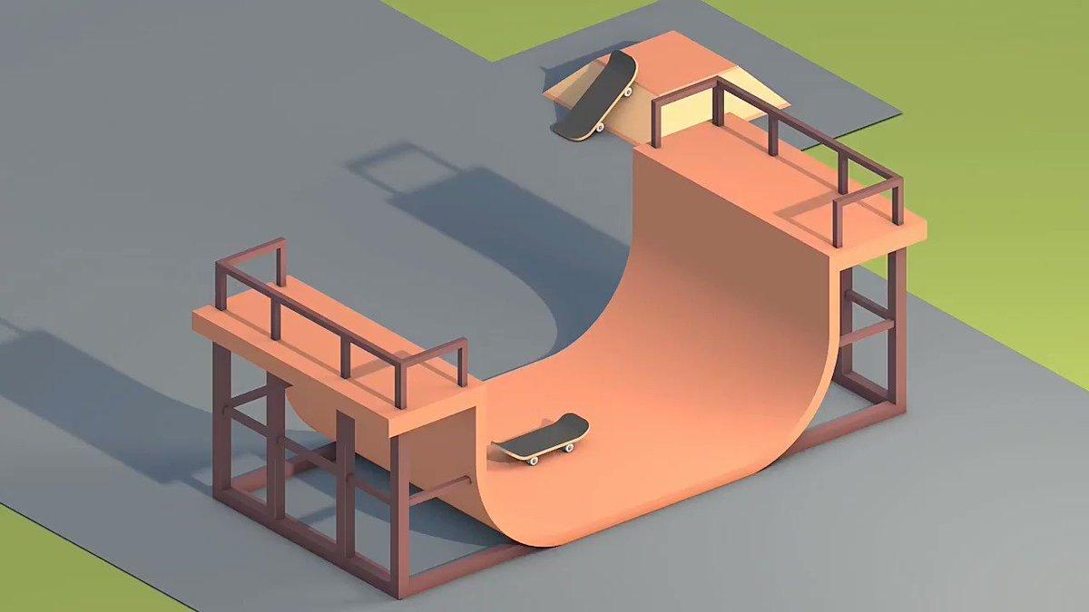 Skatepark 🎬 #ae #C4D #Animations #Animated #maxonc4d #maxon #cool #lowpoly #dope #skateboard #skatepark
