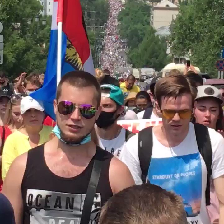 Today's #protest in #Khabarovsk, east #Russia, is quite sizeable again: some estimates claim up to 30,000 people marched in support of the regional governor Furgal, arrested on murder charges on 9 July