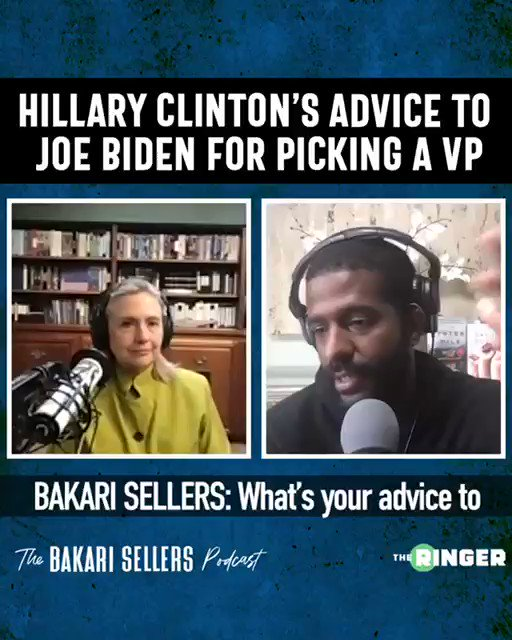 🚨Tomorrow's episode of The Bakari Sellers Podcast features Secretary @HillaryClinton🚨  We chatted about the coronavirus, schools reopening, VP search, Biden polls, etc...  Drops at 6am. Download here: