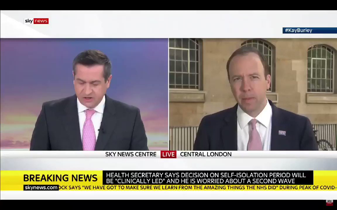#KayBurley - Here's something I'm sure you can answer. Is it true that they R number is above one in the south west & the south east of England?   Matt Hancock - I'm not going to tell you....