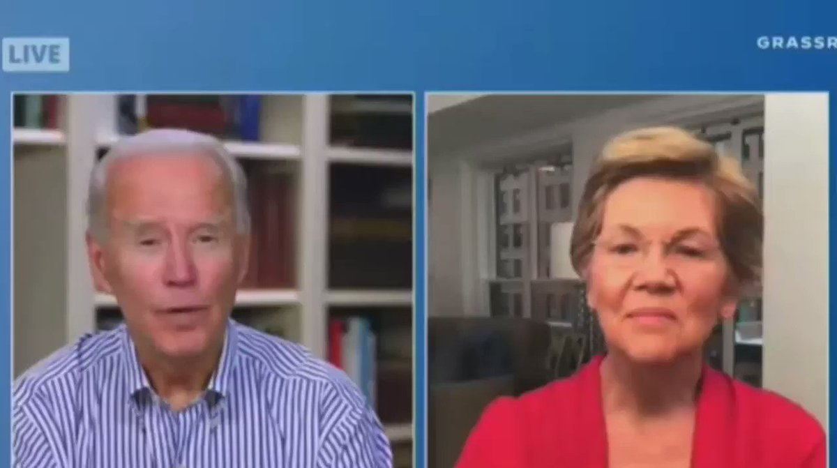 Warren appears to roll her eyes as Joe Biden continually confuses what he's saying