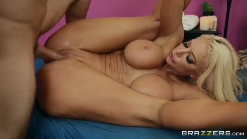 Nicolette Shea fucks in unusual positions with a bald masseur