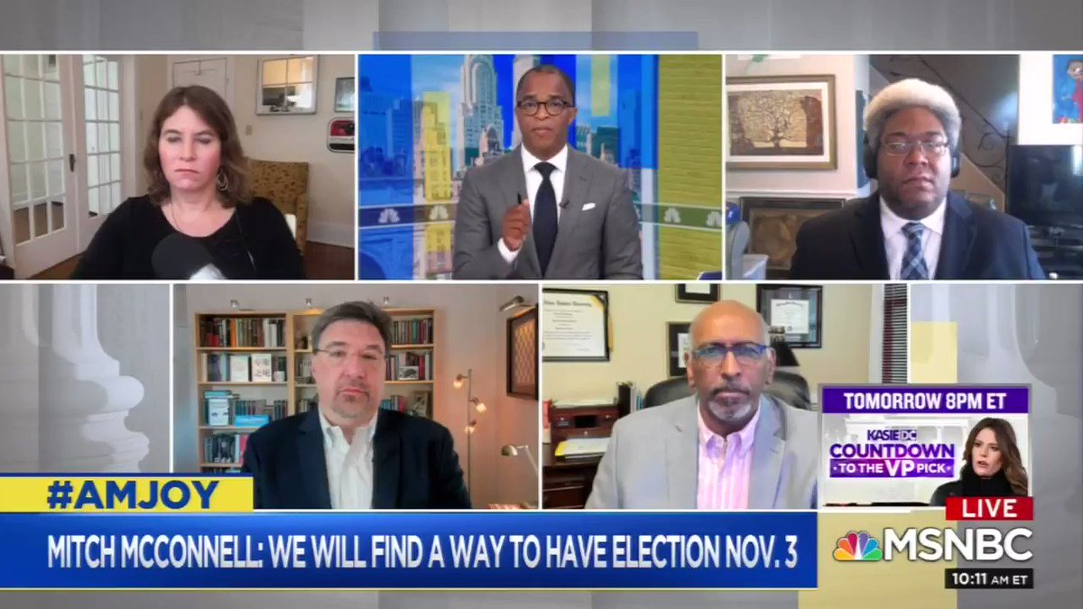 """Jonathan Capehart to former RNC Chairman Michael Steele:   """"Where is your party?... Where are these defenders of the Constitution when the Constitution is in danger?""""  Michael Steele:   """"You know, where they've always been: underneath Donald Trump's left cheek.""""  #AMJoy #MSNBC"""