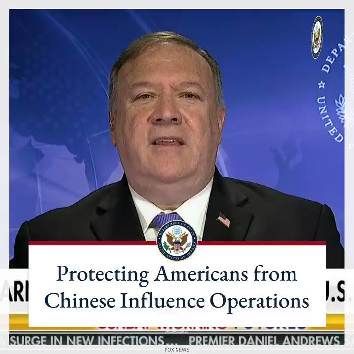 The Chinese Communist Party is running espionage operations inside the United States and attempting deep-influence targeting of American business leaders and elected officials. We're taking this threat seriously and are going to protect the American people.