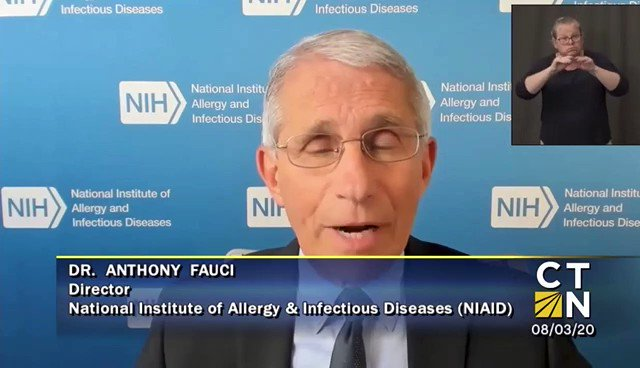 """Dr. Fauci: """"Connecticut has maintained the very important things to stay ahead of the virus--universal using of masks, avoiding crowded places, maintaining six feet distance and good hand hygiene."""