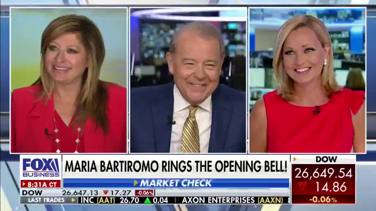 Congrats to @MariaBartiromo for 25 years of business reporting! She was the first reporter to go live from the #NYSE floor and today she rang the opening bell! @FoxBusiness @SandraSmithFox #VarneyCo